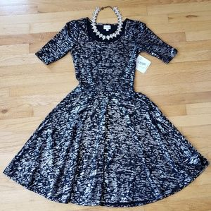Lularoe Black and Metallic Silver Nicole Dress NWT